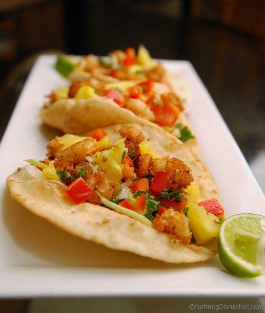 Red Lentil Coconut Shrimp Tacos