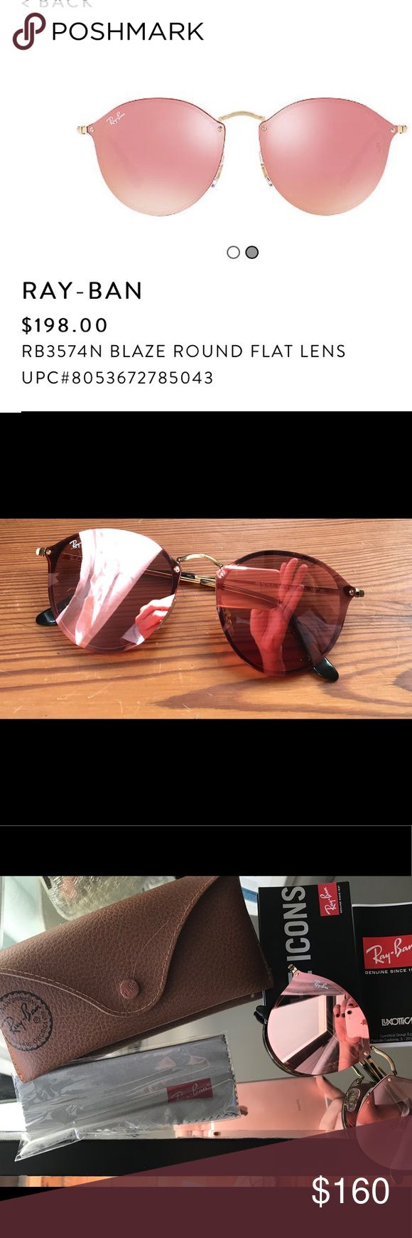 Rose Gold Mirror Ray Bans Never Worn! Never worn Ray Bans I got as a gift a week ago and just don't like pink (I know). They're blaze round pink mirror aviators with case and everything in the photo, basically brand new. These sell for 198 at the store, make an offer! Ray-Ban Accessories Sunglasses