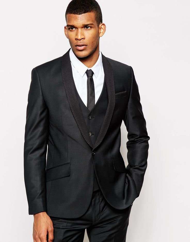 River Island Slim Fit Blazer with Ribbed Collar