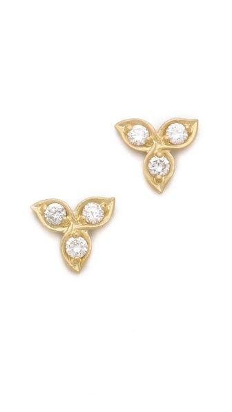 Jamie Wolf 18k Diamond Leaf Stud Earrings lZuxLpprR