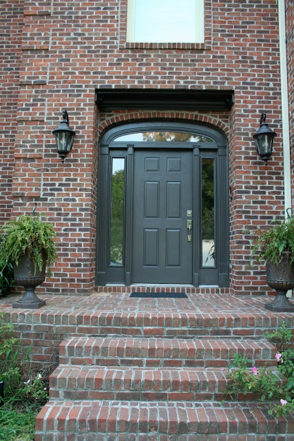 Stately Charcoal Door Painting The Trim And Sidelights
