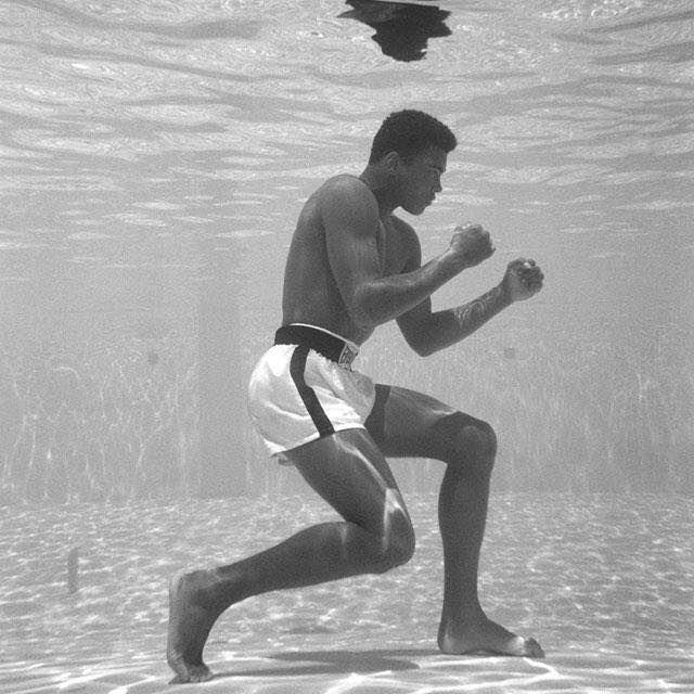 Muhammad Ali underwater.