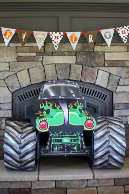 Fun decorations at a Monster Truck boy birthday party!  See more party ideas at CatchMyParty.com!