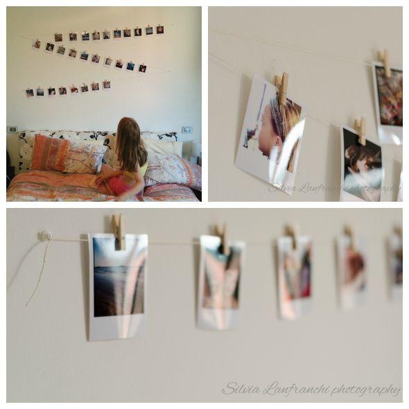 Instagram pictures on my wall Una parete decorata con le foto Instagram: mollette, spago e una forma particolare.