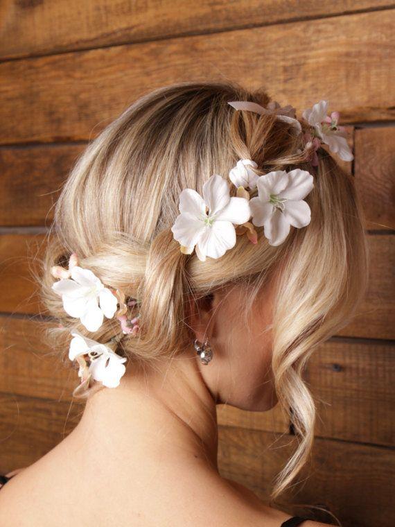 White floral crown orchids crown bridal crown Floral Head