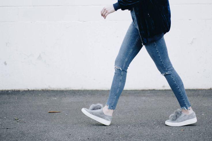 Blue velvet bomber, rocker t-shirt, ripped skinny jeans, pom pom sneakers | Love, Hannah Lee by Hannah Martin