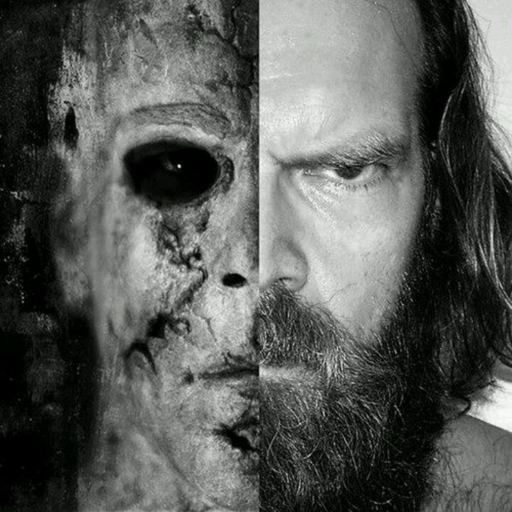 "The two faces of Tyler Mane - Tyler and his most famous alter ego, Michael Myers in Rob Zombie's successful remake of the ""Halloween"" franchise"