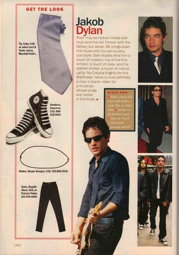 """Jakob Dylan: OK, so maybe you didn't want his style, but you did want to stare into his blue eyes while he sang """"One Headlight"""" to you on his acoustic guitar.   7 Celebrities Whose Style You Totally Wanted To Copy In 1998"""