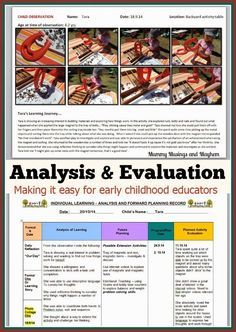 Analysis and Evaluation Documentation Ideas for Early childhood educators, daycare providers, childminders and home daycare. Make the most of your time with these professional development strategies.