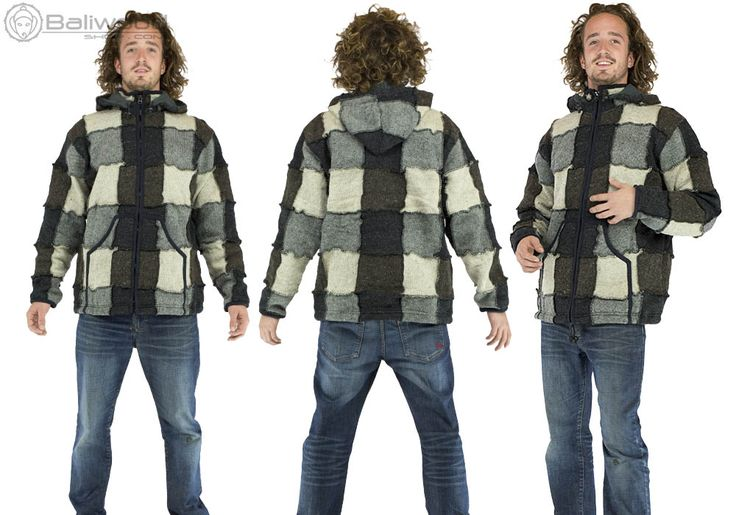 HILKA Men's wool jacket, fleece lined interior, extra warm jacket for the mountains, winter festival, real wool, hippie, ethnic jacket in gray checked wool for men with hood. Very warm jacket in real wool on the outside Lined with a layer of fleece inside. Straight cut, 2 pockets kangaroo in the front, closes with a zip. The hood is removable thanks to a zipper. Wool patchwork style pieces for a hippie look, baba cool. This jacket will keep you warm all winter! Ideal for mountain, ski season…
