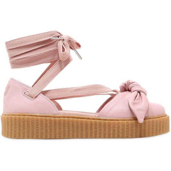 Fenty X Puma Women 30mm Bow Creeper Lace Up Sandal Sneakers (£82) ❤ liked on Polyvore featuring shoes, sandals, flats, pink, platform lace up shoes, lace up flats, flat platform shoes, laced up flats and pink shoes