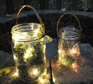 Mason Jars: short string lights & moss from a craft store, looks like fireflies inside. Could be great as a night light for a girls' room too!