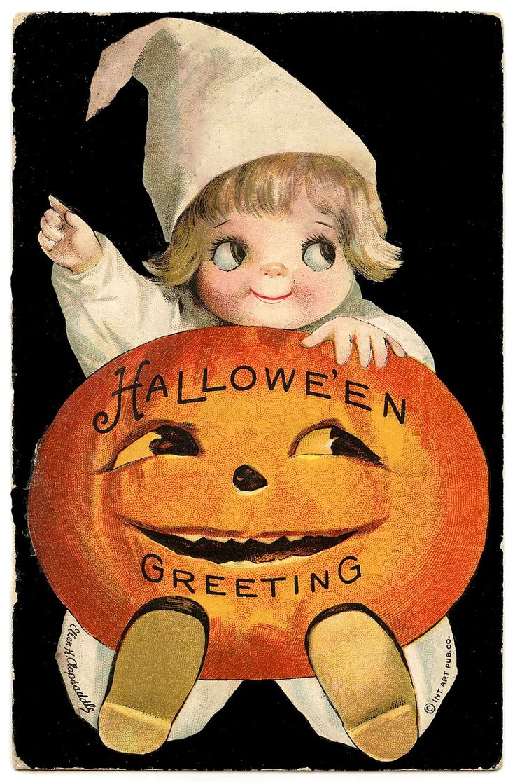 retro halloween clipart | Vintage Halloween Clip Art - Googly Eye Pumpkin Girl - The Graphics ...
