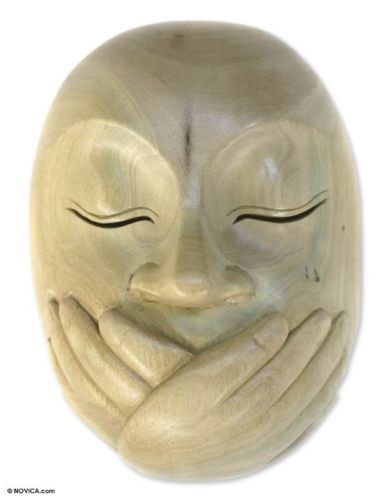 Hibiscus Wood Mask Sculpture Wall Art Hand Carved 'Wordless' NOVICA Bali