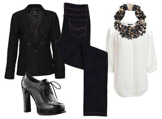 Tmavě modré džíny, F černé sako Amisu, New Yorker; bílá halenka,