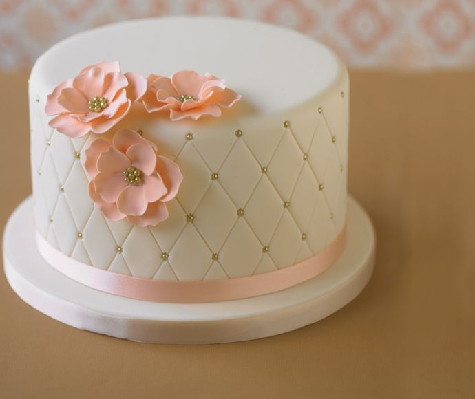 Quilted Cake with Double Flower Toppers =)