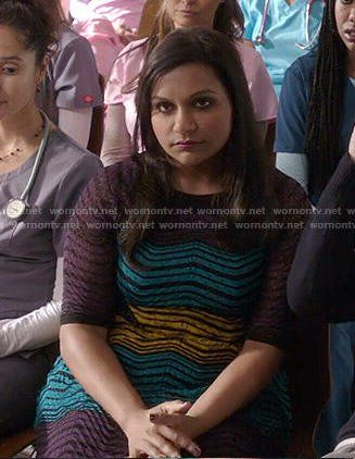 Mindy's purple, yellow and blue zig zag dress on The Mindy Project.  Outfit Details: https://wornontv.net/54087/ #TheMindyProject
