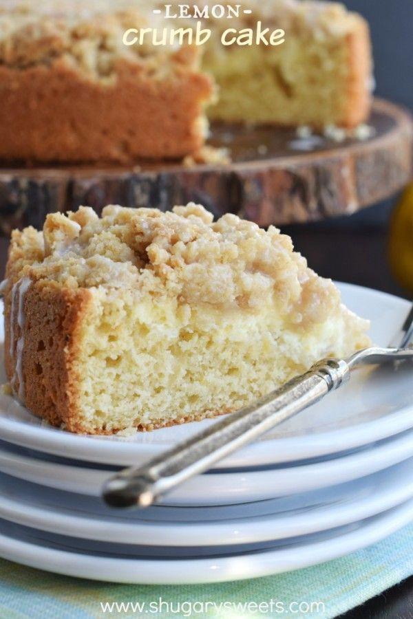 Lemon Crumb Cake with a creamy lemon cheesecake filling