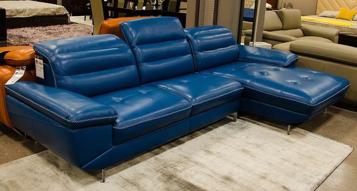 Divani Casa Hobart Modern Blue Leather Sectional Sofa 가구
