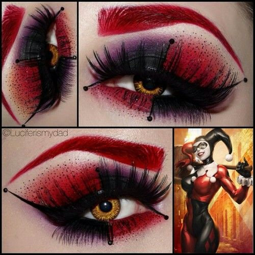 Harley Quinn (i found all these hero/villain makeup ideas on reddit, sorry i can't link to original source!!)