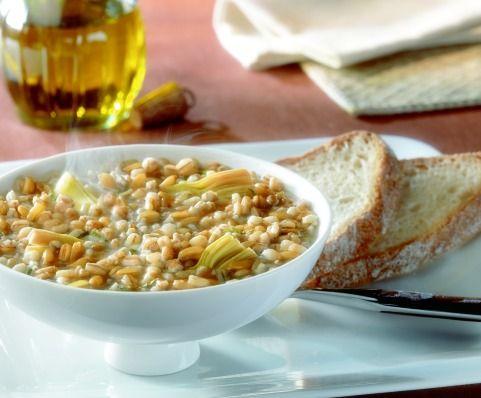 Zuppa di quattro cereali ai carciofi  http://ilmangiarbene.it/2013/12/zuppa-di-quattro-cereali-ai-carciofi/