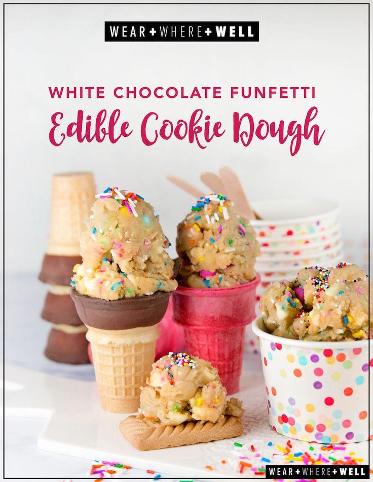 white chocolate funfetti edible cookie dough