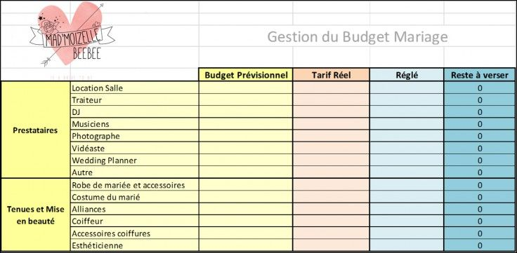 Tableau pour calculer son budget mariage | www.madmoizellebeebee.com/organisation/calculer-son-budget-mariage