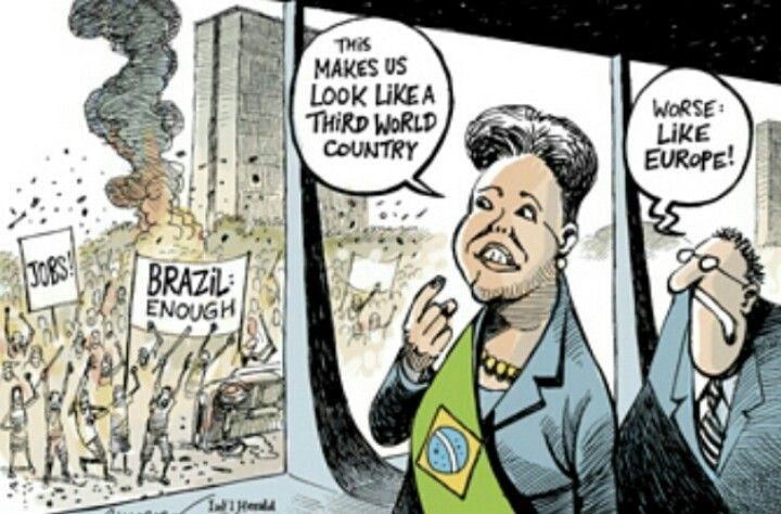 Gli scontri in Brasile. Patrick Chappatte per Herald Tribune (giugno 2013)