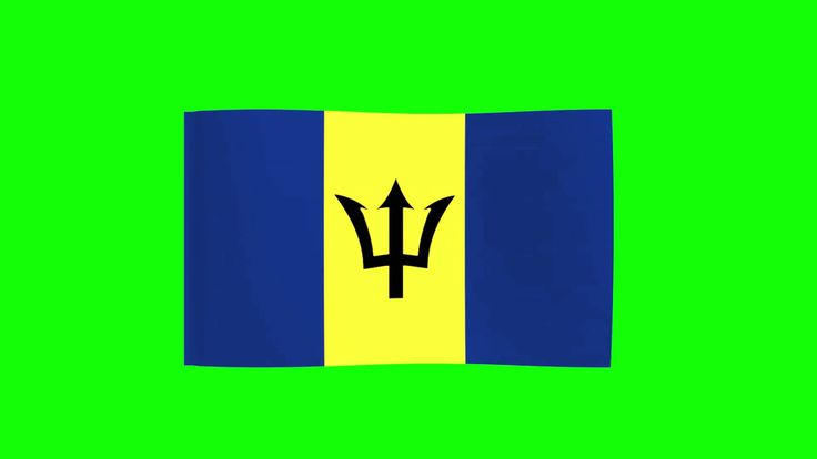 Barbados National Flag in Wind - FreeHDGreenscreen Footage