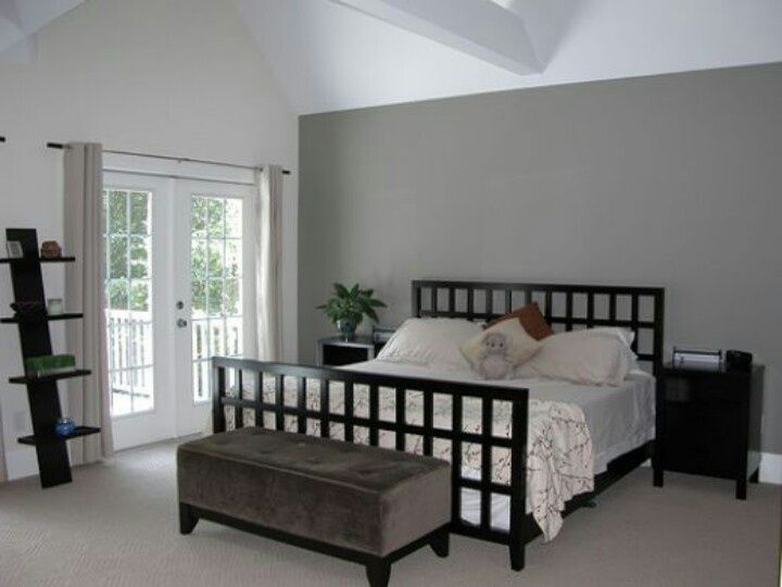 Lavender Accent Wall Grey Paint On The Walls White Bedding Clean