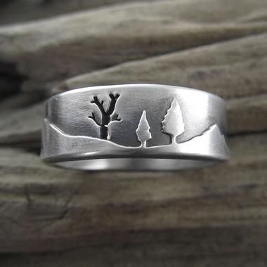 Mountain Forest Sterling Silver Wedding Ring - Beth Millner Jewelry - 1