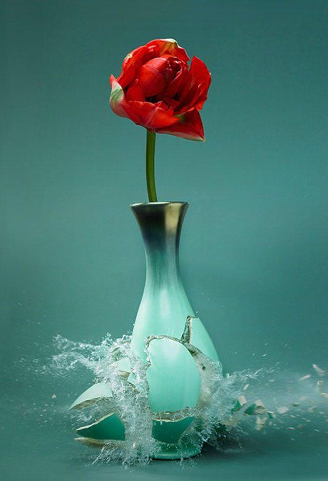 Série fotográfica de vasos sendo destruidos por Martin Klimas