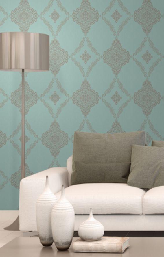 rasch textil vision 022859 grn grau blau silber ornament muster vliestapete wohnzimmer - Wohnzimmer Silber