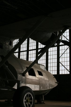 PBY Behind Hangar Door 8x10 matted and framed.  Original photography by Mt. Hope Rd Photography