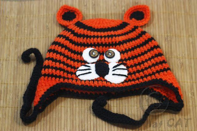 Bad Hat Cat: Crochet Tiger Hat, Earflap Hat, Zoo Animal,Animal ...