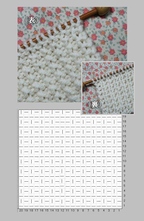 表目と裏目で作る両面利用できる編み方の編み図と編み上がり作品