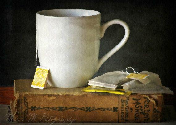 Tea, books, tea bag, mug, charcoal, cream, tan, yellow, kitchen, home decor, original fine art photograph, 5x7 print, metallic finish