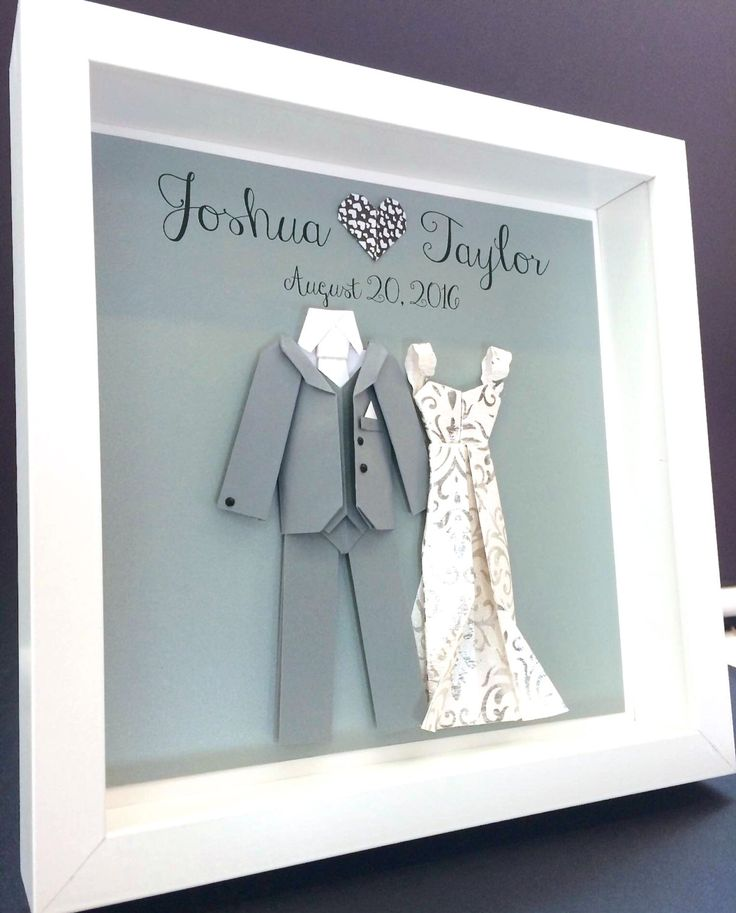 Personalized Wedding Gift First Anniversary Engagement Bridal Shower Paper Origami Bride Groom Shadowbox Frame Wall Art