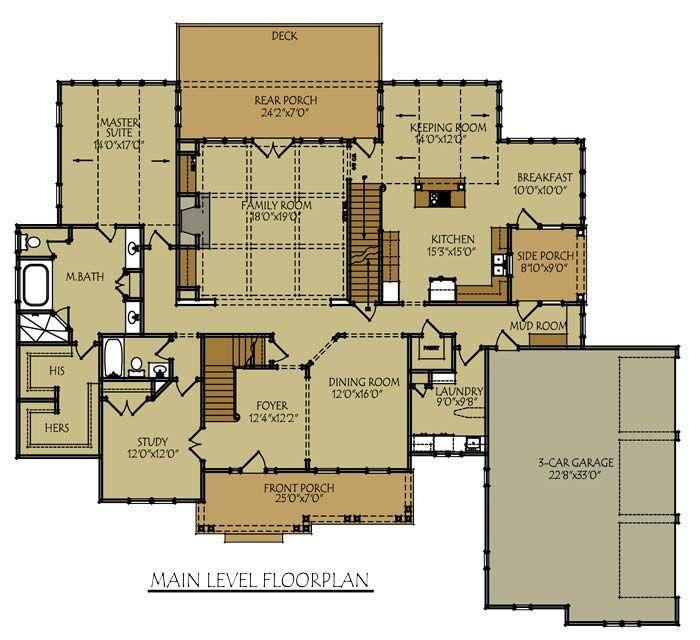 Rustic Kitchen Floor Plans: 3 Bedroom Open Floor Plan With Wraparound Porch And