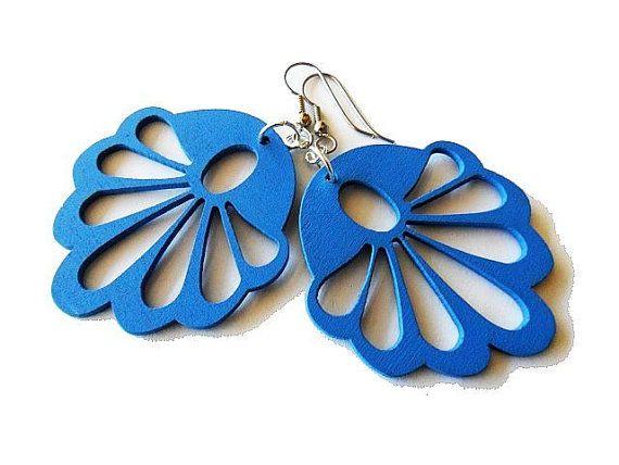 Royal Blue Wooden Fan Earrings by marygracejewellery on Etsy