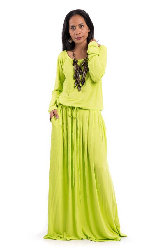 Plus size dress Green Yellow Maxi Dress  Fluo Yellow Green