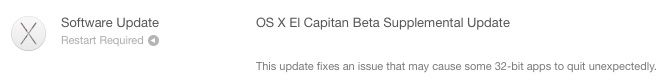 Apple Releases Supplemental Update for OS X El Capitan Beta to Address App Crashes - https://www.aivanet.com/2015/07/apple-releases-supplemental-update-for-os-x-el-capitan-beta-to-address-app-crashes/