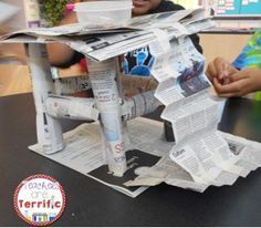 STEM- easy materials- just newspaper and tape! Kids must build a platform that has several rules to follow! Super fun!