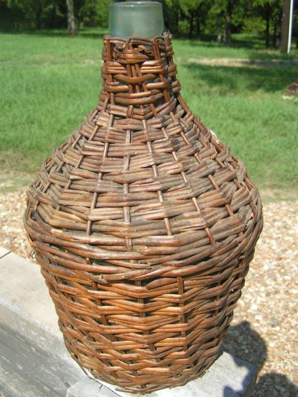 vintage woven wicker italian wine bottle jug old demi john. Black Bedroom Furniture Sets. Home Design Ideas