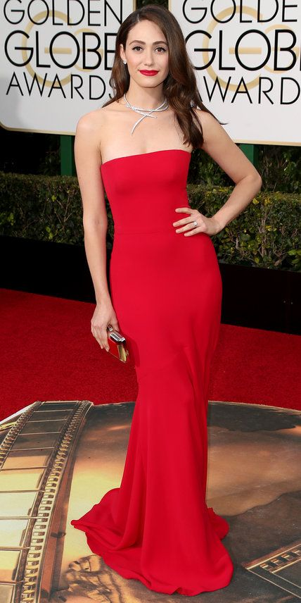 2016 Golden Globes Red Carpet Arrivals - Emmy Rossum in Armani Privé with #VanCleef&Arpels jewels , Brian Atwood shoes