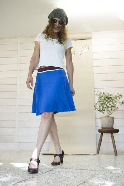 """Midiröcke - Glockenrock """"move it"""" jersey royal blau  - ein Designerstück von DistelfinkDesigns bei DaWanda"""