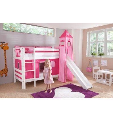 Superbe ce lit superposé blanc en bois massif avec toboggan! Un univers féerique pour rêver, jouer et faire le plein d'idées. Le décor rose imprimé d'un j...