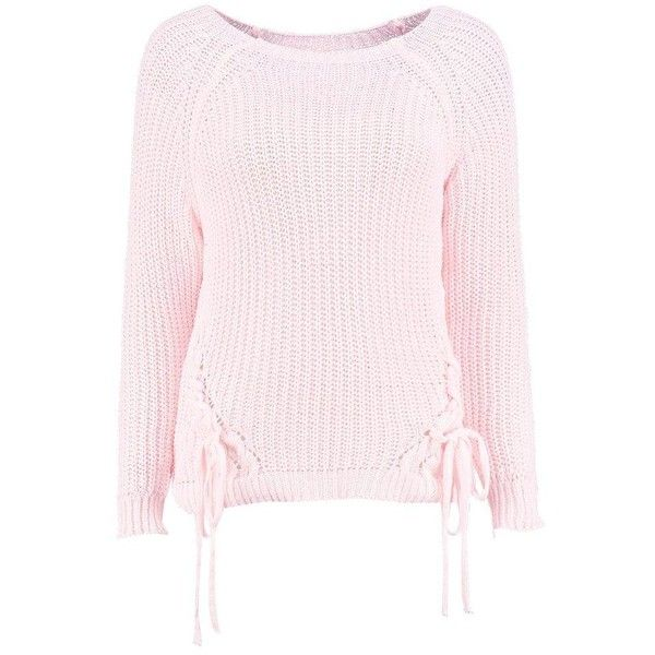 Boohoo Karina Lace Up Detail Jumper ($24) ❤ liked on Polyvore featuring tops, sweaters, knit wrap sweater, sequin sweater, party jumpers, wrap sweater and sequin top
