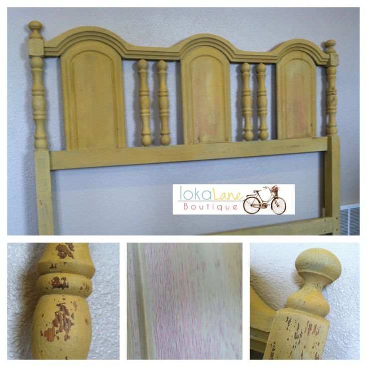 Refinished headboard using milk paint. This would look great in a gray and turquoise bedroom!