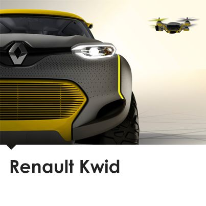 The Renault Kwid concept car features a small, traffic-spotting drone that takes off from the car's roof.